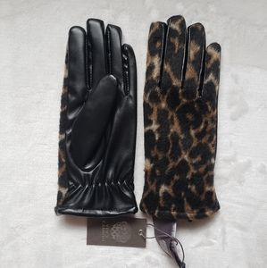 NWT Vince Camuto Leopard faux leather gloves L XL